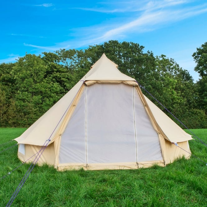 4m Sandstone Canvas Bell Tent - Wide Door