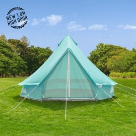 Boutique Camping Tents 4m Sky Blue Canvas Bell Tent
