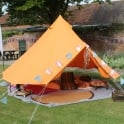 4m Tangerine Orange Bell Tent With Zipped in Ground Sheet
