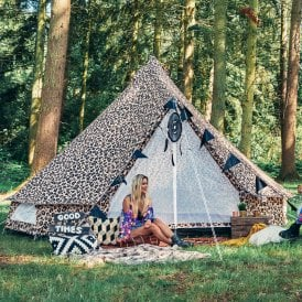 4m Weekender Polyester Bell Tent - Leopard Print