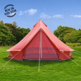5m Coral Red Bell Tent Canvas