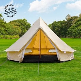 5m Lightweight Sandstone Canvas Bell Tent - Single Door