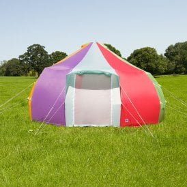 5m Luna Weekender Bell Tent | Rainbow | Dome Yurt Style Front View