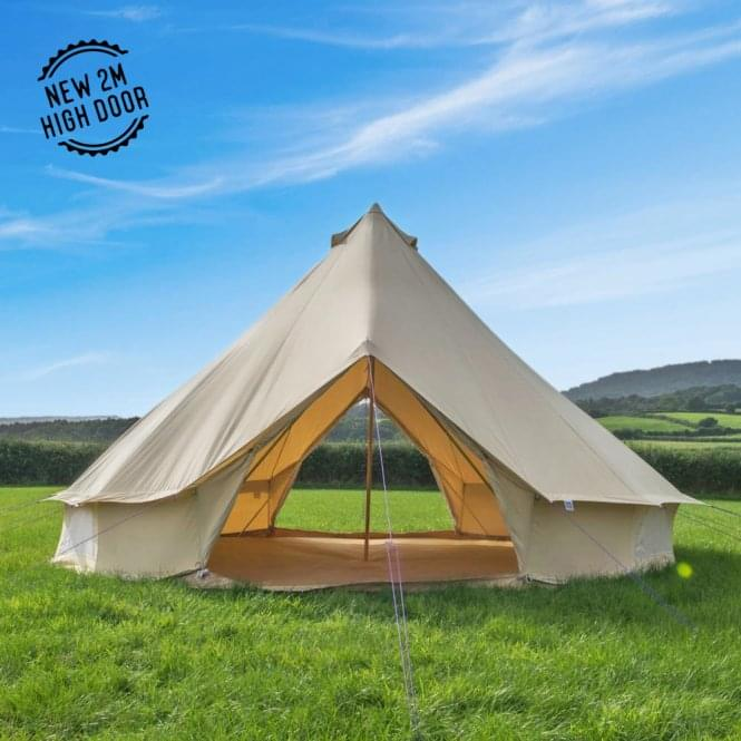 5m Sandstone Canvas Bell Tent - Double Door