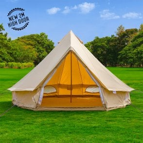 5m Sandstone Canvas Bell Tent - Single Door