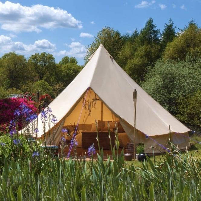 5m Sandstone Canvas Bell Tent - Single Door & Sandstone Bell Tent | Boutique Camping