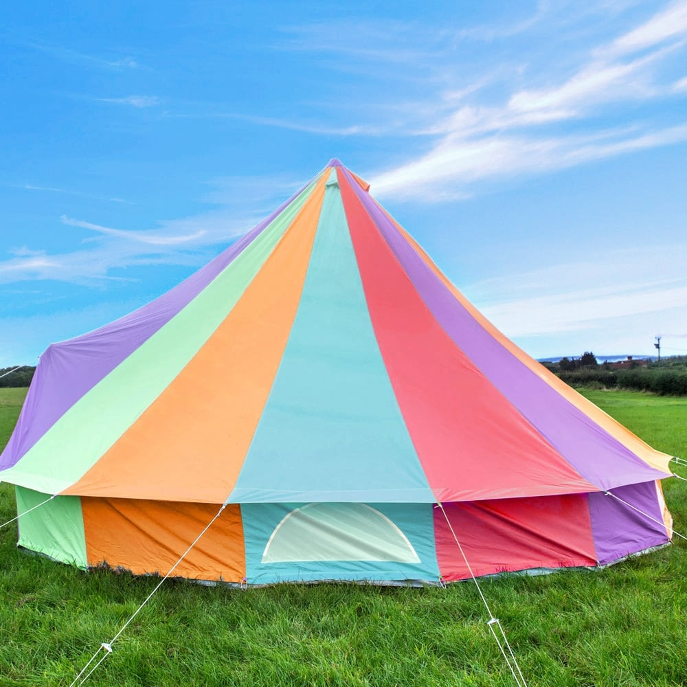 6m Rainbow Canvas Bell Tent & Pattern Bell Tent | Boutique Camping