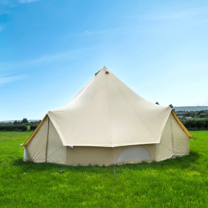 6m Sandstone Canvas Bell Tent - Quad Door