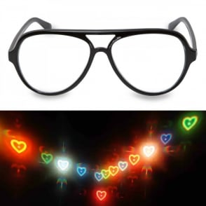 Boutique Camping Aviator Glasses - Heart Firework Lens