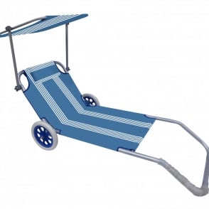 Roll On Summer Blue and White Nautical Stripe Sun Lounger Trolley