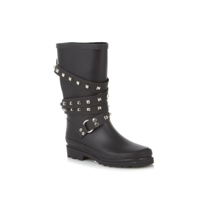 Boutique Black Studded Strap Wellies