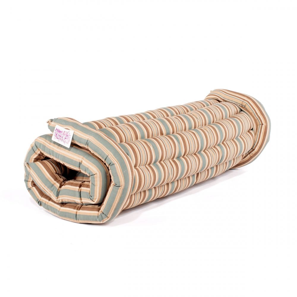 Boutique Roll Up Bed Striped Blue Brown Boutique Camping