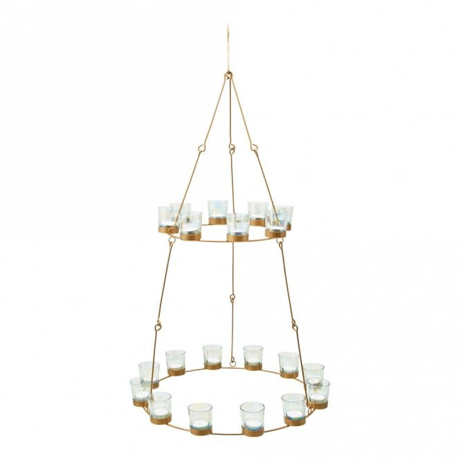 Chandelier - Brass Frame - Iridescent Glass Holders
