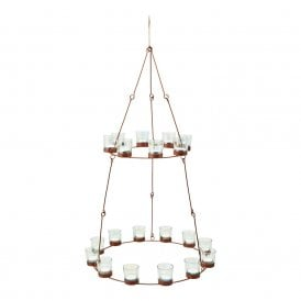 Chandelier - Copper Frame - Irridescent Glass Holders