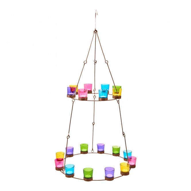 Chandelier - Copper Frame - Mulitcoloured Glass Holders