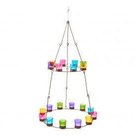 Boutique Camping Chandelier - Copper Frame - Mulitcoloured Glass Holders