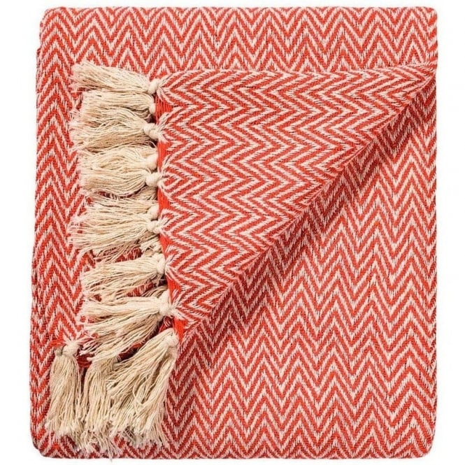 Chevron Soft Cotton Handloom Throw Terracotta
