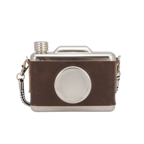 Boutique Camping Cool Retro Vintage Camera Design Hip Flask - Brown