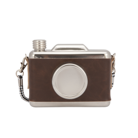 Cool Retro Vintage Camera Design Hip Flask - Brown