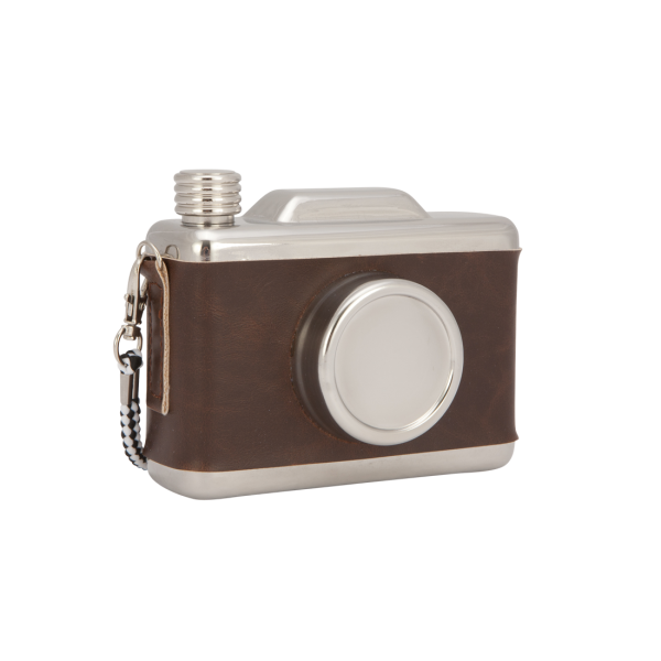 Cool Retro Vintage Camera Design Hip Flask Brown
