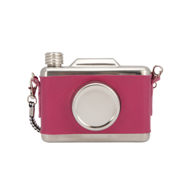 Cool Retro Vintage Camera Design Hip Flask - Pink