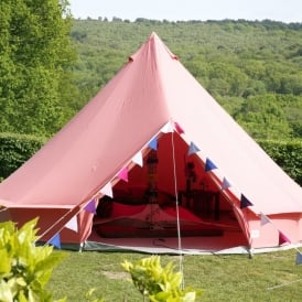 Boutique Camping Coral Red Bell Tent With Zipped in Ground Sheet