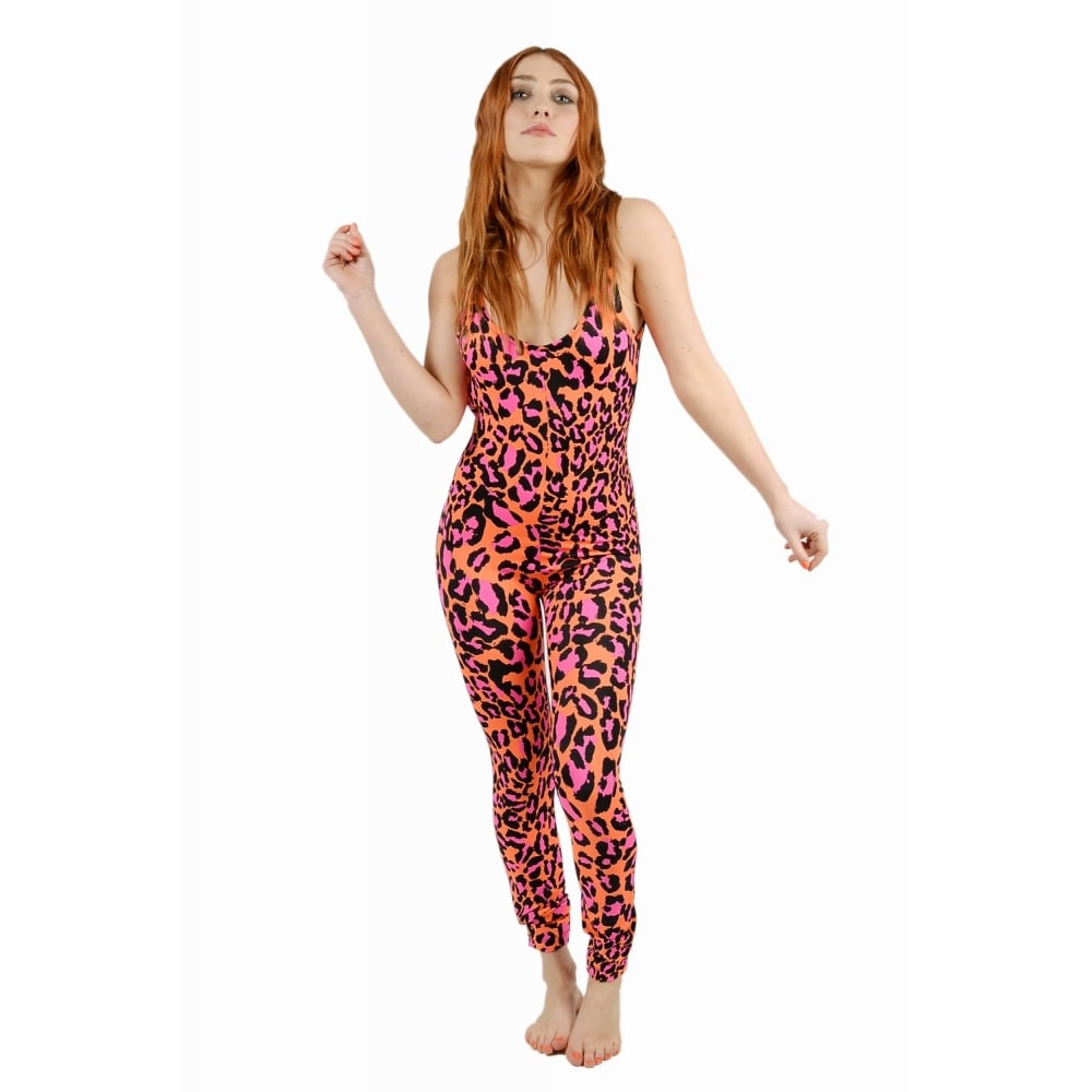 Coral Red Leopard Print Catsuit Tirade13 From Boutique