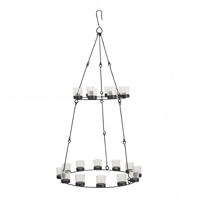 Double Tier Chandelier - Black Frame - Clear Glass Holders
