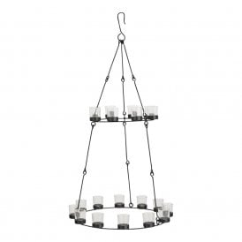 Boutique Camping Double Tier Chandelier - Black Frame - Clear Glass Holders