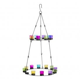Boutique Camping Double Tier Chandelier - Black Frame - Multicoloured Glass Holders