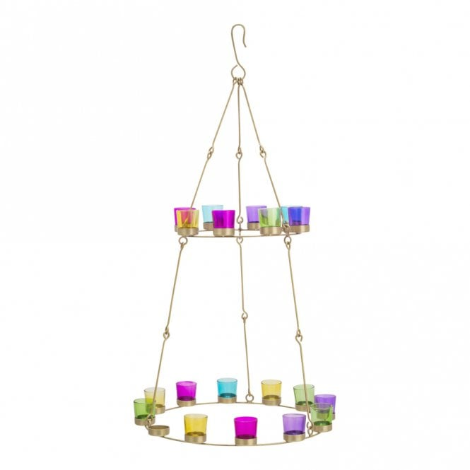 Double Tier Chandelier - Brass Frame - Multicoloured Glass Holders