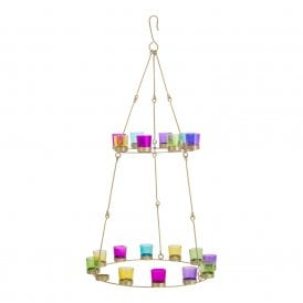 Boutique Camping Double Tier Chandelier - Brass Frame - Multicoloured Glass Holders