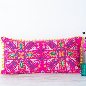 Boutique Camping Embroidered Suzani Bolster Cushion - Pink