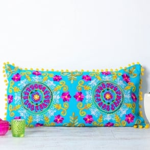 Boutique Camping Embroidered Suzani Bolster Cushion - Turquoise