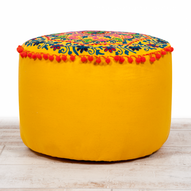 Embroidered Suzani Pouf Seat Cushion - Yellow