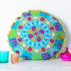 Boutique Camping Embroidered Suzani Round Cushion- Turquoise