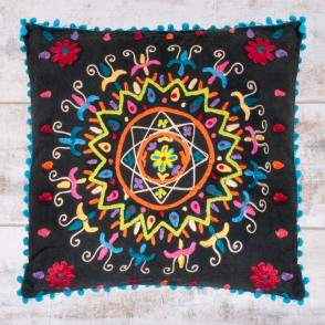 Embroidered Suzani Square Cushion - Black