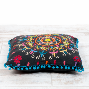 Boutique Camping Embroidered Suzani Square Cushion - Black