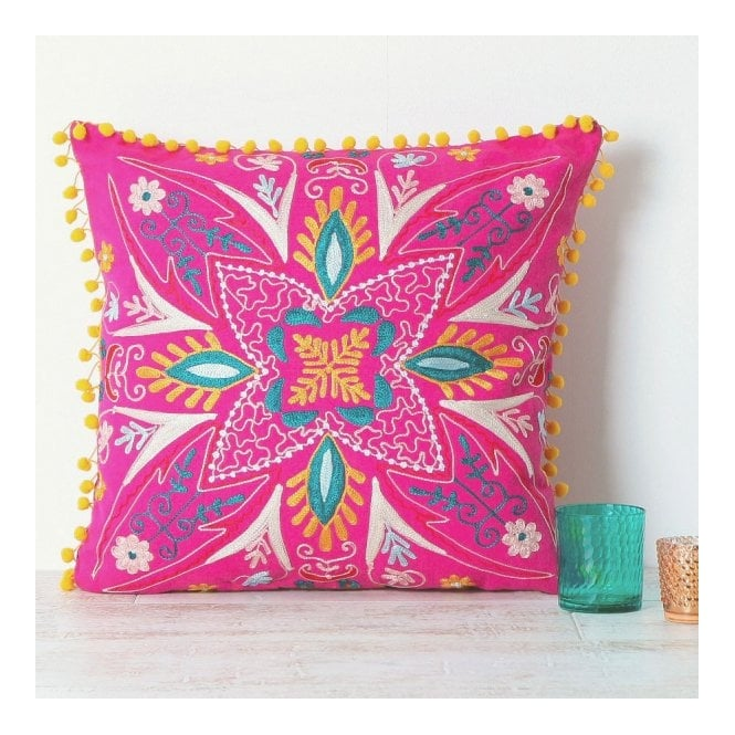 Embroidered Suzani Square Cushion - Pink