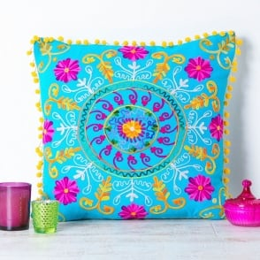Boutique Camping Embroidered Suzani Square Cushion - Turquoise and Pink