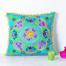 Boutique Camping Embroidered Suzani Square Cushion - Turquoise