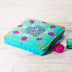 Boutique Camping Embroidered Suzani Square Floor Cushion - Turquoise and Pink