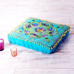 Boutique Camping Embroidered Suzani Square Floor Cushion - Turquoise