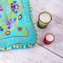 Embroidered Suzani Square Floor Cushion - Turquoise