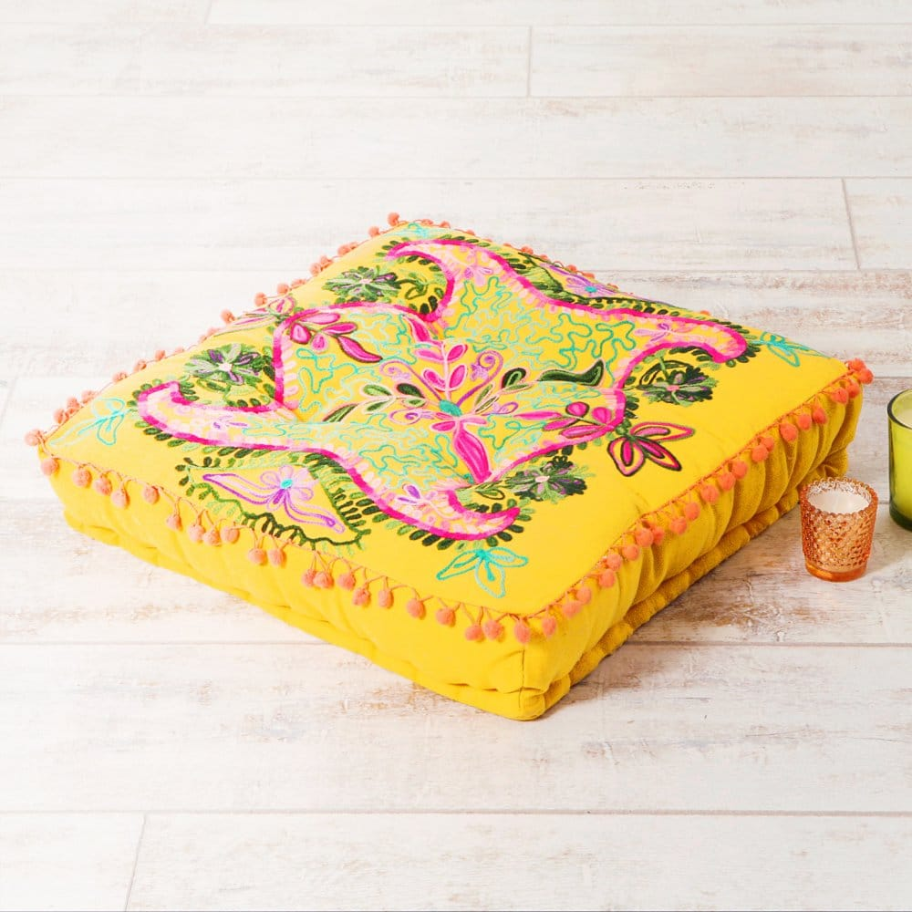 embroidered suzani square floor cushion yellow