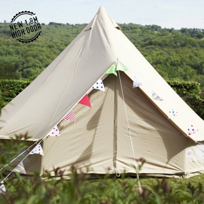 EX-HIRE - 4m Sandstone Canvas Bell Tent - Single Door (Good as New)