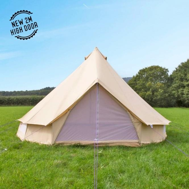 EX-HIRE - 5m Sandstone Canvas Bell Tent - Single Door (Brand New)