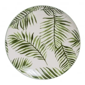 Boutique Camping Fern Leaf Ceramic Dinner Plate, Green