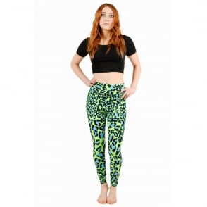 Tirade13 Green Leopard Print Leggings