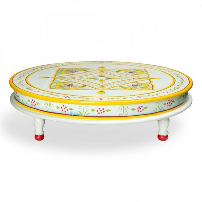 Hand Painted Indian Bajot Round Table Aqua Yellow